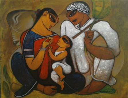 Family 4 | Painting by artist Ramesh Gujar | acrylic | Canvas
