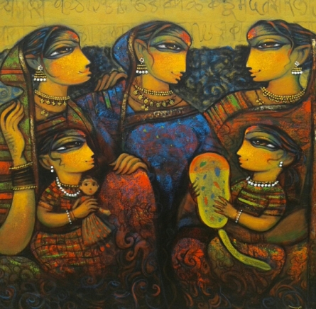 Figurative Acrylic Art Painting title 'Family 3' by artist Ramesh Gujar