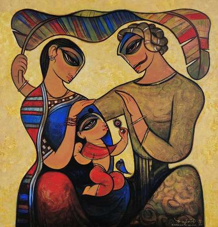 Figurative Acrylic Art Painting title 'Family 6' by artist Ramesh Gujar