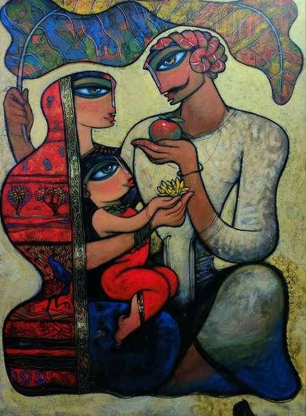 Figurative Acrylic Art Painting title 'Family 8' by artist Ramesh Gujar