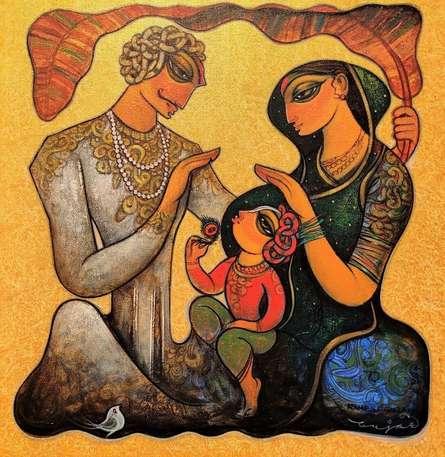 Figurative Acrylic Art Painting title Family 9 by artist Ramesh Gujar