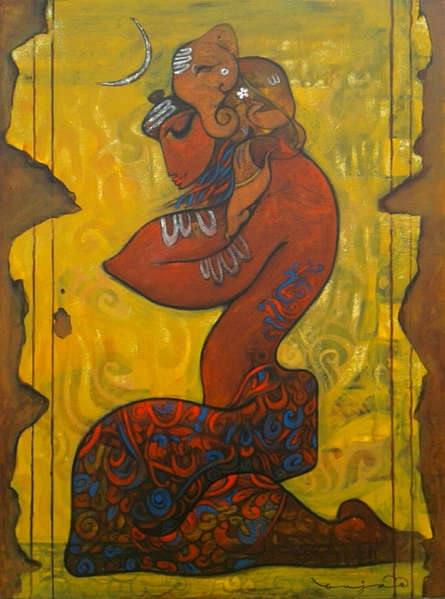 Ramesh Gujar | Acrylic Painting title Ganesha on Canvas | Artist Ramesh Gujar Gallery | ArtZolo.com