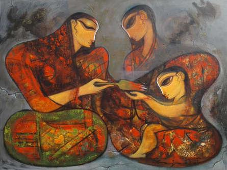 Ramesh Gujar | Acrylic Painting title Love on Canvas | Artist Ramesh Gujar Gallery | ArtZolo.com