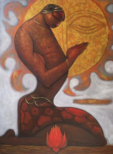 Figurative Acrylic Art Painting title Meditation by artist Ramesh Gujar