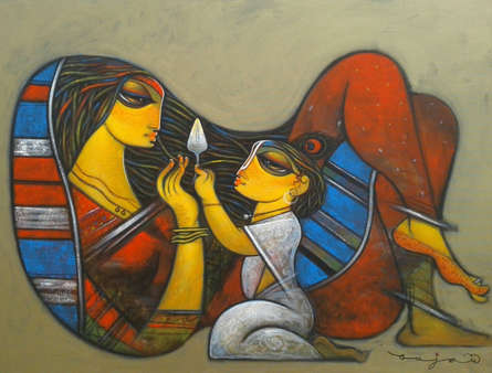 Figurative Acrylic Art Painting title 'Mother And Child' by artist Ramesh Gujar