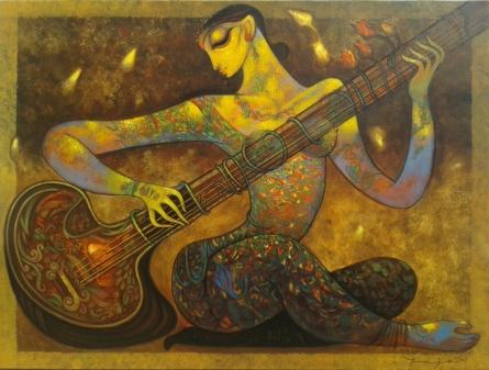 Music | Painting by artist Ramesh Gujar | acrylic | Canvas