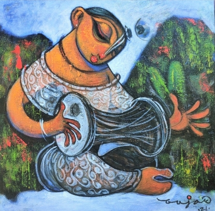 Religious Acrylic Art Painting title Playing Dholak by artist Ramesh Gujar