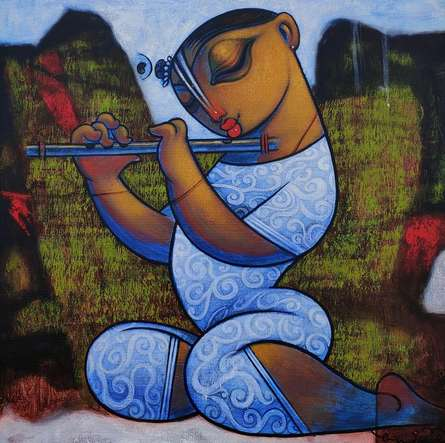 Religious Acrylic Art Painting title 'Playing Flute' by artist Ramesh Gujar