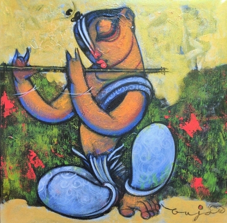 Religious Acrylic Art Painting title Playing Flute 3 by artist Ramesh Gujar