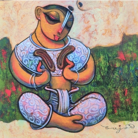 Religious Acrylic Art Painting title Playing Musical Instrument by artist Ramesh Gujar