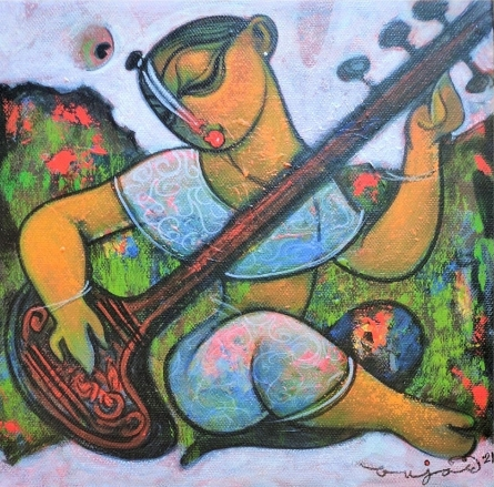 Religious Acrylic Art Painting title Playing Sitar by artist Ramesh Gujar