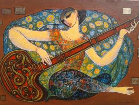 Figurative Acrylic Art Painting title Sitar by artist Ramesh Gujar