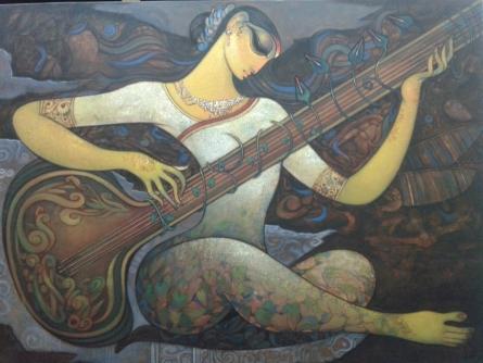 Ramesh Gujar | Acrylic Painting title Sitar Vadan on Canvas | Artist Ramesh Gujar Gallery | ArtZolo.com