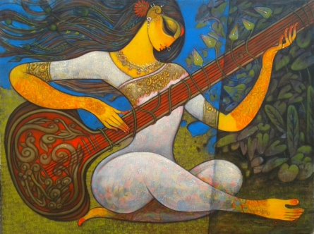 Figurative Acrylic Art Painting title 'Sitar Vadan 2' by artist Ramesh Gujar