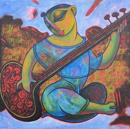 Figurative Acrylic Art Painting title 'Sitar Vadan 5' by artist Ramesh Gujar
