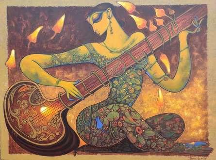 Figurative Acrylic Art Painting title 'Sitar Vadan 7' by artist Ramesh Gujar