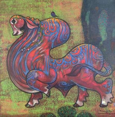 Animals Acrylic Art Painting title 'Untitled 11' by artist Ramesh Gujar