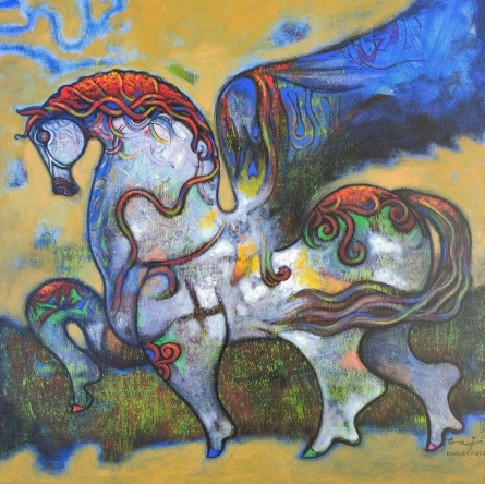 Animals Acrylic Art Painting title 'Untitled 13' by artist Ramesh Gujar
