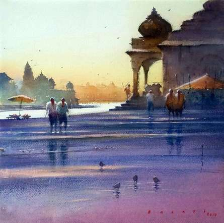Cityscape Watercolor Art Painting title Ganga Ghat In Reflection by artist Nilesh Bharti