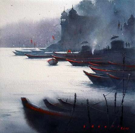 Landscape Watercolor Art Painting title Banaras Ghat by artist Nilesh Bharti
