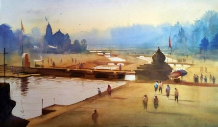Cityscape Watercolor Art Painting title 'Ganga Ghat 5' by artist Nilesh Bharti