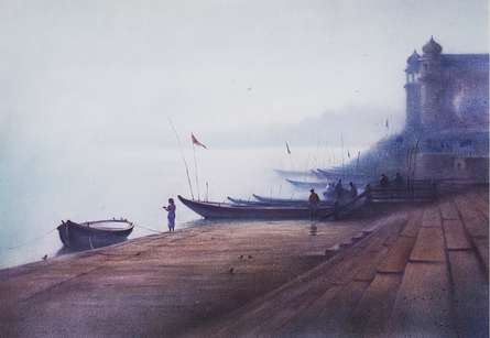 Cityscape Dry-pastel Art Painting title 'Banaras 1' by artist Nilesh Bharti