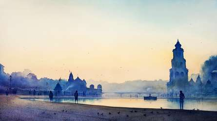 Cityscape Watercolor Art Painting title 'Blue Morning 7' by artist Nilesh Bharti