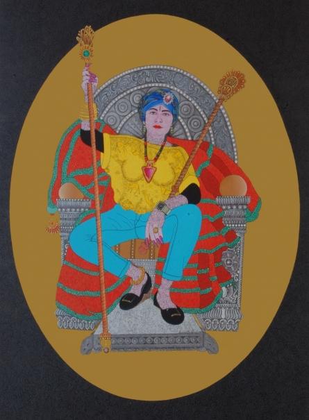 Bandana Kumari | Acrylic Painting title Thakur on Canvas | Artist Bandana Kumari Gallery | ArtZolo.com