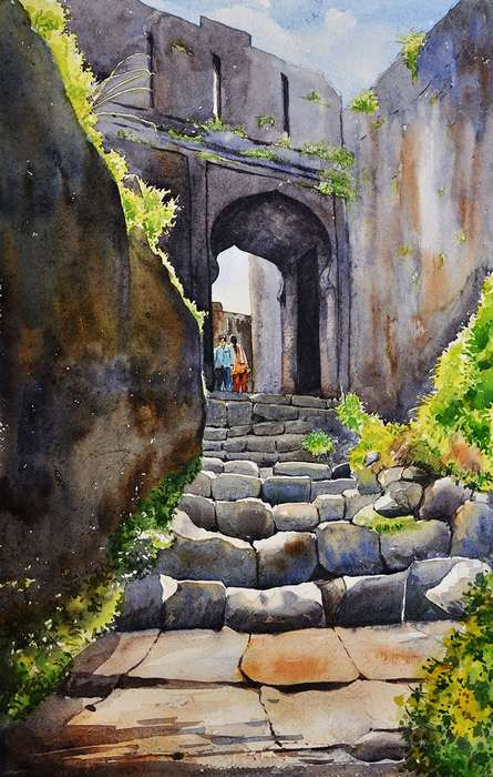 Ramdas Thorat Paintings | Watercolor Painting - Lohagad Fort by artist Ramdas Thorat | ArtZolo.com