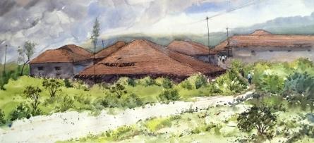 Landscape Watercolor Art Painting title Village 3 by artist Ramdas Thorat