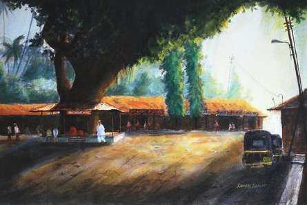 Ramdas Thorat | Watercolor Painting title Untitled on Paper | Artist Ramdas Thorat Gallery | ArtZolo.com