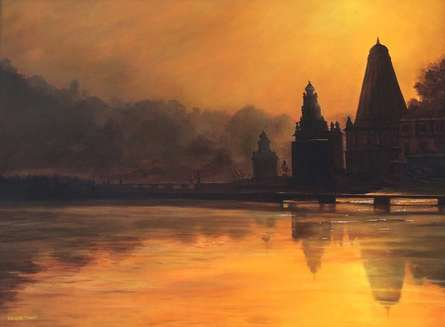 Seascape Watercolor Art Painting title 'Divine Orange' by artist Ramdas Thorat