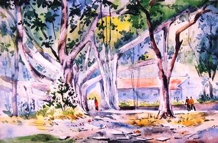 University Of Pune | Painting by artist Ramdas Thorat | watercolor | Paper