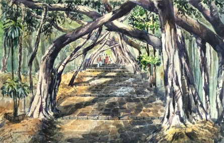 Landscape Watercolor Art Painting title University Of Pune 3 by artist Ramdas Thorat