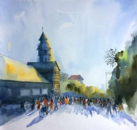 Cityscape Watercolor Art Painting title Untitled by artist Ramdas Thorat