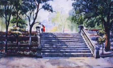 Ramdas Thorat | Watercolor Painting title Untitled on Paper | Artist Ramdas Thorat Gallery | ArtZolo.com