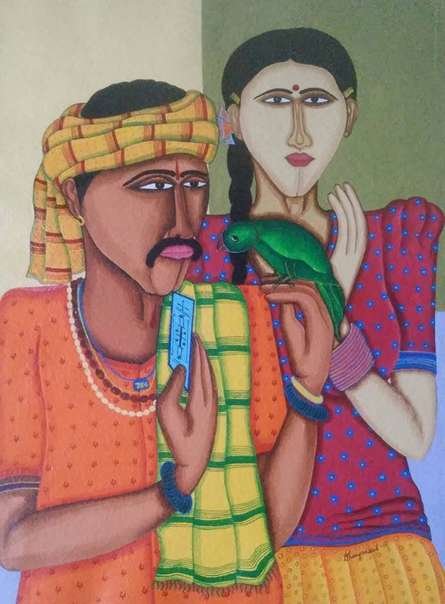 Fortune Teller | Painting by artist Dhan Prasad | acrylic | Hand made Paper