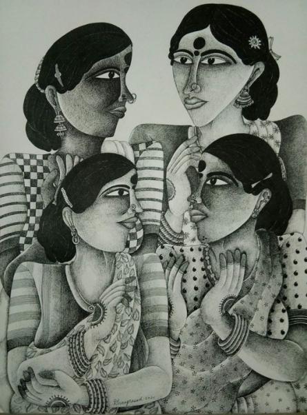 Figurative Acrylic Art Painting title Yogis by artist Dhan Prasad