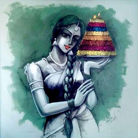 Bathukamma | Painting by artist Shravan Kumar | mixed-media | Canvas