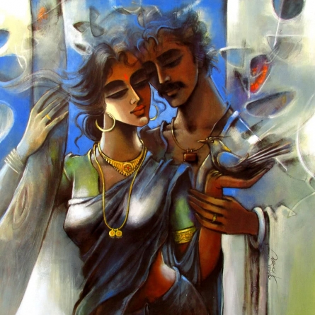 Lovely Couple 2 | Painting by artist Shravan Kumar | mixed-media | Canvas