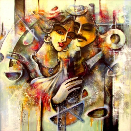 Figurative Mixed-media Art Painting title 'Lovely Couple 3' by artist Shravan Kumar