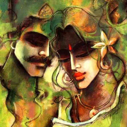 Figurative Mixed-media Art Painting title Lovely Couple 7 by artist Shravan Kumar