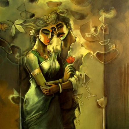 Shravan Kumar | Mixed-media Painting title Lovely Couple on Canvas | Artist Shravan Kumar Gallery | ArtZolo.com