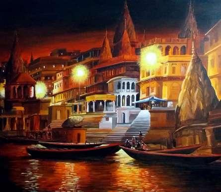 Varanasi Ghat at Night   Painting by artist Samiran Sarkar   acrylic   Canvas