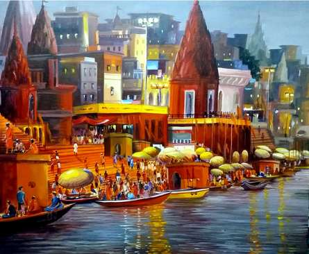Samiran Sarkar | Acrylic Painting title Varanasi Ghat at Night on Canvas | Artist Samiran Sarkar Gallery | ArtZolo.com