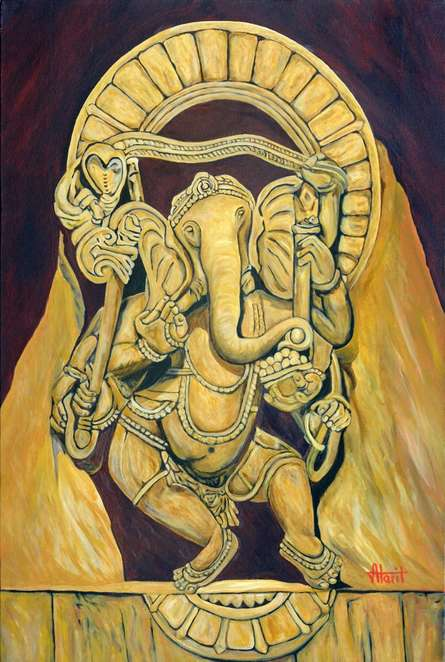 Ajay Harit | Oil Painting title Dancing Ganesha on Canvas | Artist Ajay Harit Gallery | ArtZolo.com