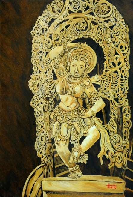 Figurative Oil Art Painting title 'Dancing Girl Yakshini' by artist Ajay Harit