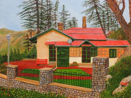Landscape Oil Art Painting title Dream House In Shimla by artist Ajay Harit