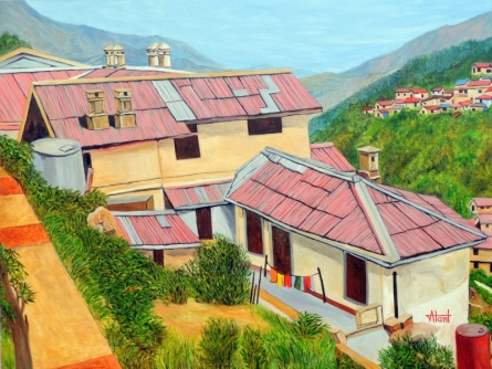 Landscape Oil Art Painting title Dwellings In Nainital by artist Ajay Harit