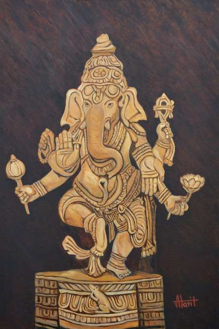 Figurative Oil Art Painting title 'Ganesha In Blessing Mood' by artist Ajay Harit